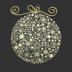 Christmas elegant golden globe made of snowflakes over dark back