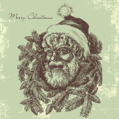 Vintage Santa Claus sketch portrait, Christmas card in old fashi