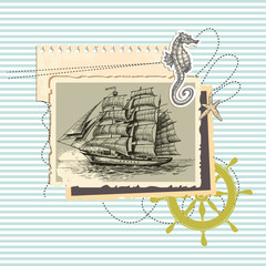 Summer memories, old ship photo and marine elements, retro scrap