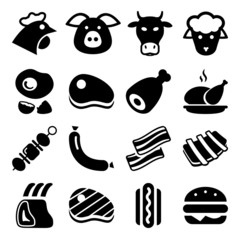 meat black icons
