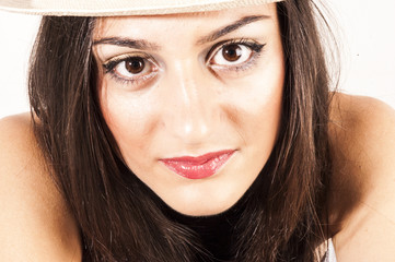 Closeup pretty face of a caucasian woman