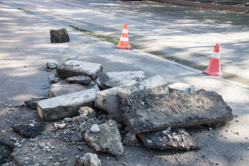 Road repairing works? destroyed asphalt,