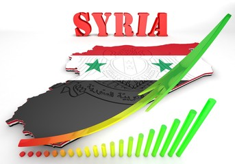 Map illustration of Syria with map
