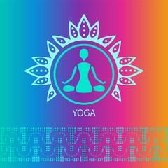 yoga emblem bright rainbow background lotus posture