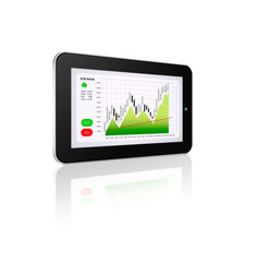 tablet with stock market chart isolated over white