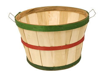 Empty Bushel Basket Isolated on White
