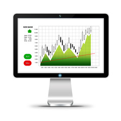 computer with stock market chart isolated over white
