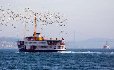 Passenger boat in the Bosphorus, Istanbul, Turkey