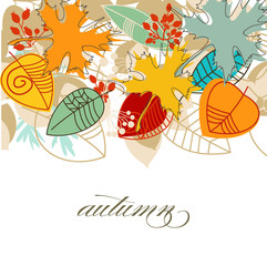 Autumn falling leaves colorful background over white