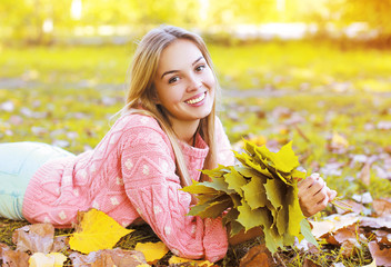 Portrait beautiful charming smiling girl in autumn season