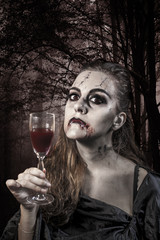 Portrait of a vampire. Halloween theme