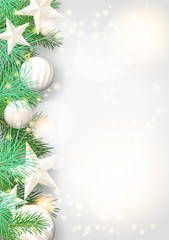 Christmas background with green branches and white ornaments