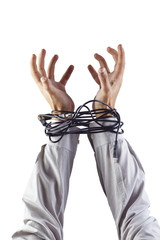 Hands tied with cables