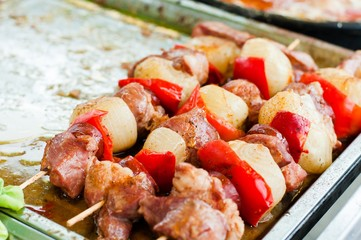 Barbecue Shish kebab With Meat and Tomato