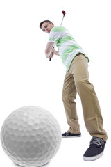 middle-aged man staying healthy and active by playing golf