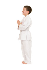 boy in clothing for martial arts