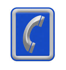 telephone sign on white