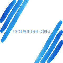 Blue vector watercolor brush strokes strips