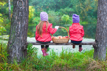 Rear view of two little sisters on bench with basket of red