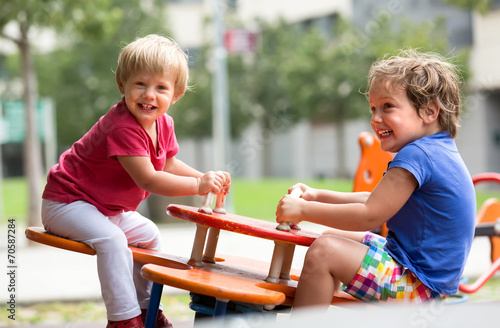 canvas print picture Children having fun at playground