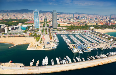 aerial view of Port Olimpic from helicopter. Barcelona