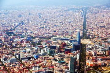 Aerial view of Barcelona with Avenue Diagonal