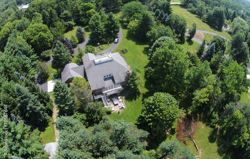 Tuinposter Luchtfoto Countryside home aerial view