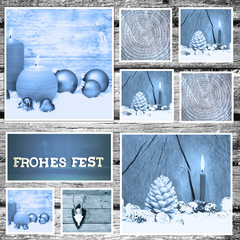 Collage - Frohes Fest / blau