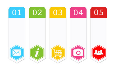 Set of colorful buttons for Web menu with hexagon icons