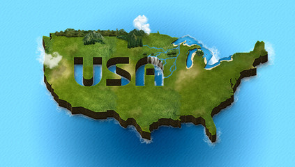 USA 3d map isometric map