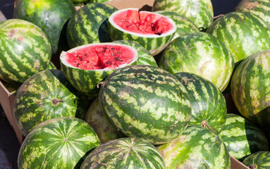 Fresh watermelons for sale at the local farmers market