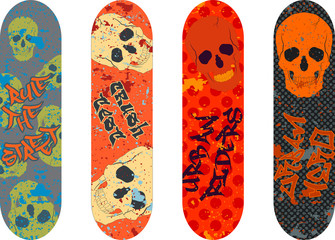 Vector skateboard design pack with graffiti tags and skulls