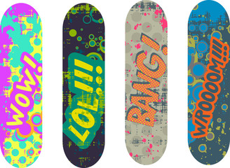 Vector skateboard design pack with cartoon style effects