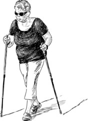 elderly woman at the nordic walk