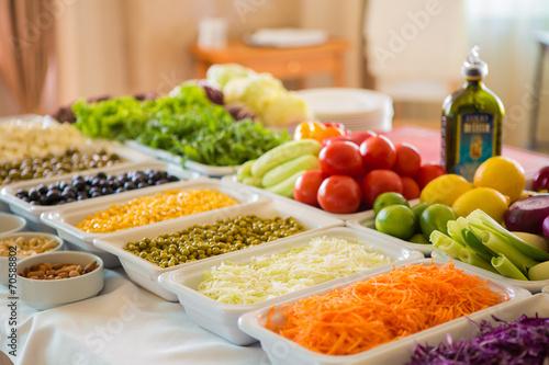 Fotobehang Salade salad bar with vegetables in the restaurant