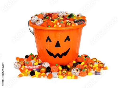 Aluminium Snoepjes Halloween Jack o Lantern pail with pile of candy