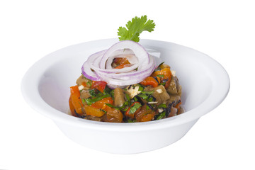 salad with sauteed eggplant and red onion in a bowl