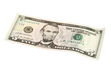 US dollar banknote 5