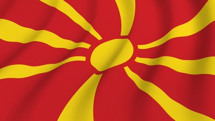 Waving national flag of Macedonia