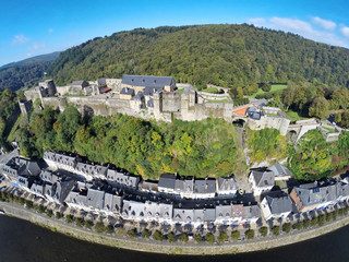 Aerial view of medieval Bouillon castle