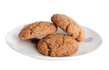 Plate with oatmeal cookies