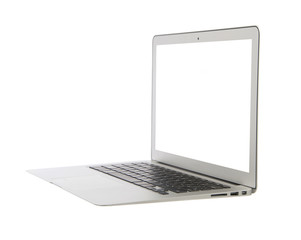 Modern popular business laptop computer with keyboard white scre