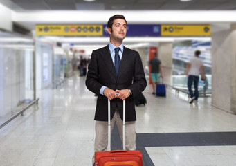 Businessman with trolley bag