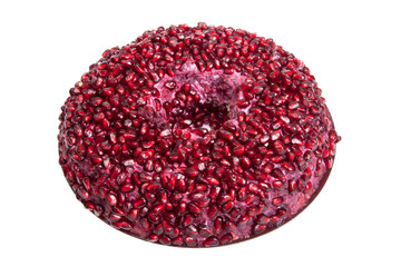 Salad with pomegranate seeds isolated on white background. Shall