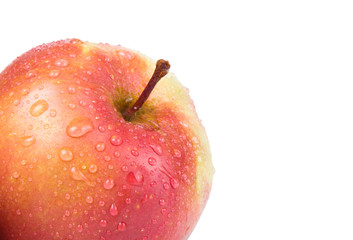 Apple with drops in the corner isolated on a white background. S