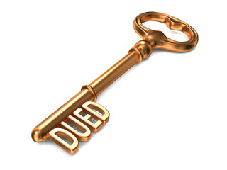 DUED - Golden Key on White Background.