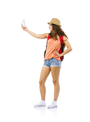 Woman tourist taking selfie