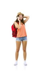 Woman tourist calling