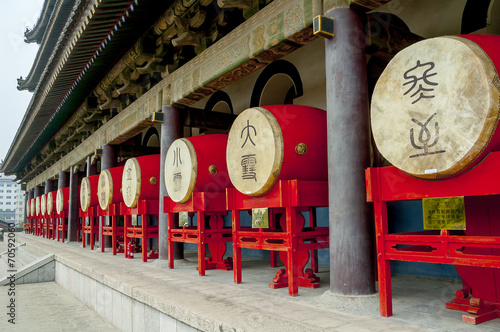 Fotobehang Xian Drums in the Bell Tower in Xian