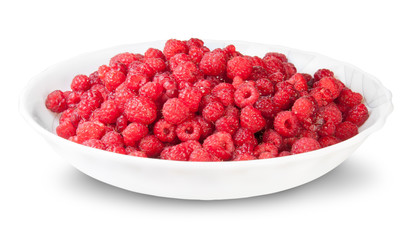 Pile Of Fresh Raspberries On A White Plate